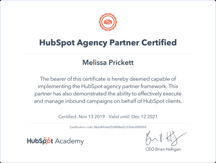 HubSpot Agency Partner Certified