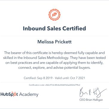 HubSpot Inbound Sales Certificate