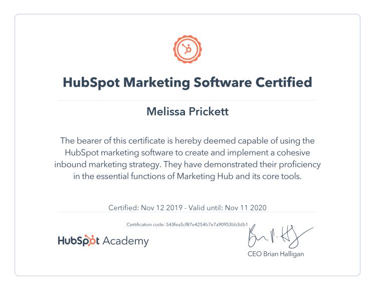HubSpot Marketing Software Certificate